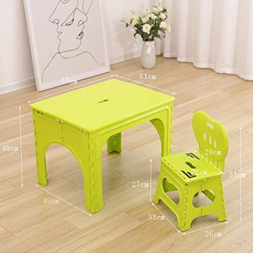 LLRDIAN Table et Chaise Pliantes pour Enfants Maternelle Petite Table bébé Maison Manger Table Pique-Nique en Plein air Portable Table Pliante pour Ordinateur (Couleur : Vert)