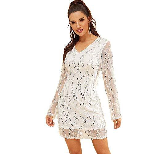 Mujeres Sueltan El Vestido De Manga Larga con Cuello En V Casual Malla A-Palabra Vestidos Cortos otoño (Color : Blanco, tamaño : XL)