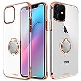 AICase XUNDD Funda para iPhone 11,Carcasa de Cristal con Soporte magnético de 360 Grados,Soporte para Coche con imán para Apple iPhone 11 (Oro Rosa)