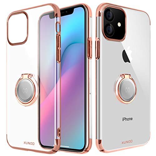 für iPhone 11 Schutzhülle mit Metallständer,Superdünnes iPhone 11 Hülle für magnetische KFZ-Halterung mit 360-Grad Finger-Halter,Transparente PC Schale Glänzende Details (Roségold)