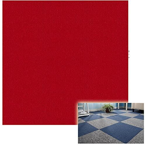 ZHKXBG Azulejos de Alfombra 50 × 50cm, Sótano para el hogar/Oficina, Autoadhesivo/Respaldo Antideslizante/Baldosa Lavable, 1 Metro Cuadrado (4 Piezas),Rojo,Asphalt