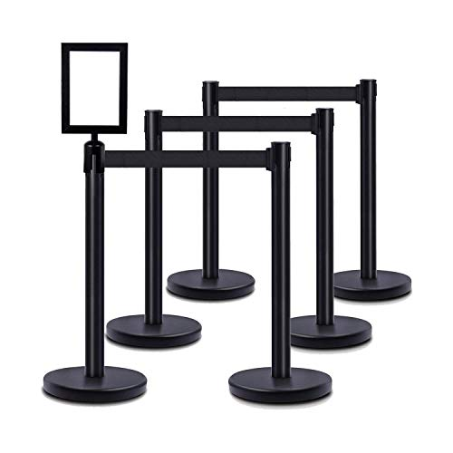 DuraSteel VIP Series Standard Rope Barriers - 6 Pcs Set Heavy Duty Black Tuff Tex Crowd Control Stanchions + Portrait Signframe - 36