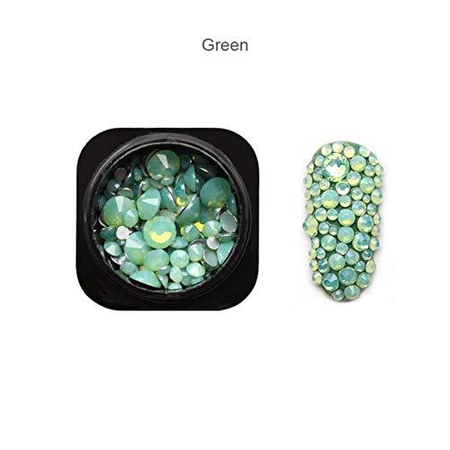 Gouen 1 Bouteille Mix Opale Cristal Nail Strass Verre Nail Art Décorations Accessoire, Vert