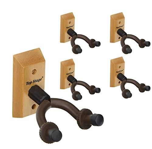 5-Pack Guitar Wall Mount Hanger Guitar Hanger Wall Hook Holder Stand for Bass Electric Acoustic Guitar Ukulele (5-Pack, Hangers) (Natural)