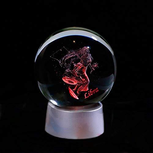 Regalo de rosa artificial 3D Signo del zodiaco Bola de cristal 12 Constelaciones Bola de cristal Decoración del hogar Bola Colorida luz led Horóscopo Ornamento Signo del zodiaco, Libra, Bola de 6