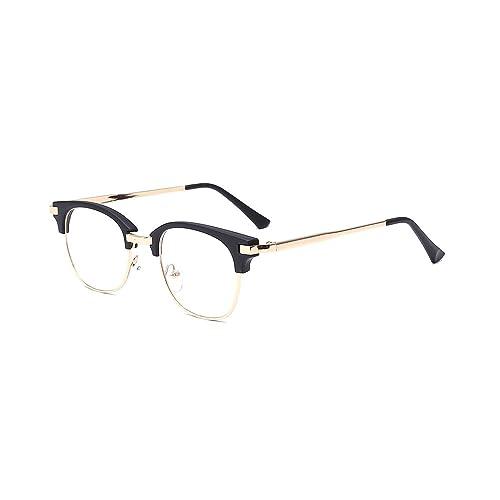 85557f12ee ALWAYSUV Retro Metal Semi-Rimless PC Clear Lens Unisex Glasses Eyewear