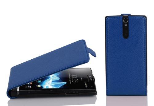Cadorabo Custodia per Sony Xperia S in BLU MARINA - Protezione in Stile Flip di Similpelle Strutturata - Case Cover Wallet Book Etui