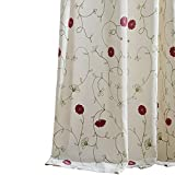 VOGOL 2 Panels Grommet Curtains Simple Style Floral Embroidered Elegant Window Drapes for Living Room Bedroom, 52x84, Red