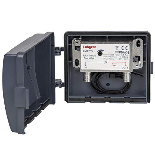 Labgear Amplificatore Antenna TV da Palo 10-25dB Guadagno Variabile, 1 Uscita, Potenziatore Segnale TV Digitale Terrestre