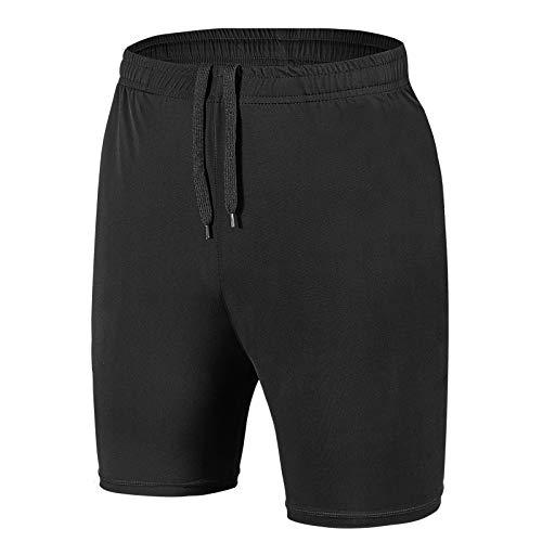 MingGann Herren Sport Shorts Sporthose Kurze Hose Schnell Trocknend Trainingsshorts für Laufsport mit Reißverschlusstaschen(Schwarz,EU-XXL/US-XL)