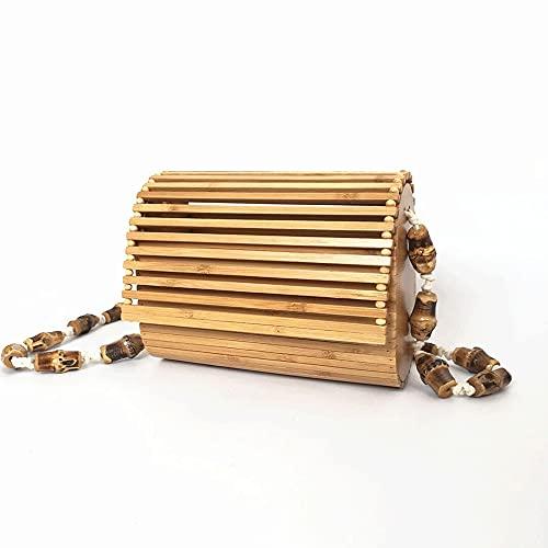 jadlahf Bolso Tejido De Bambú Hecho A Mano Para Mujer Bolso De Bambú Diagonal Bolso De Playa De Bambú Correa De Hombro De Bambú Bolso De Hombro De Bambú