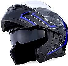 1Storm Motorcycle Modular Full Face Helmet Flip up Dual Visor Sun Shield: HB89 Arrow Blue Size L (57-58 cm,22.4/22.8 Inch)