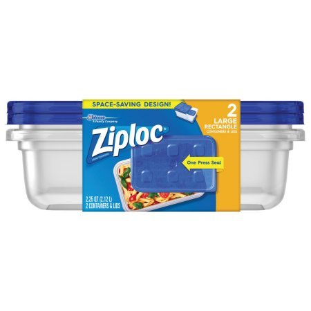 Ziploc Storage Containers Large Rectangle 2 Pack One Press Seal 2.25 QUA