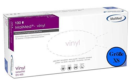 MaiMed® - Guantes desechables de vinilo desechables, sin polvo, talla XS, 100 unidades