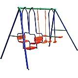 Grande balançoire enfants portique XXL charge max. 250 kg Extérieur structure de jeu jouet accesoires nacelle face à face balançoire classique 5 enfants