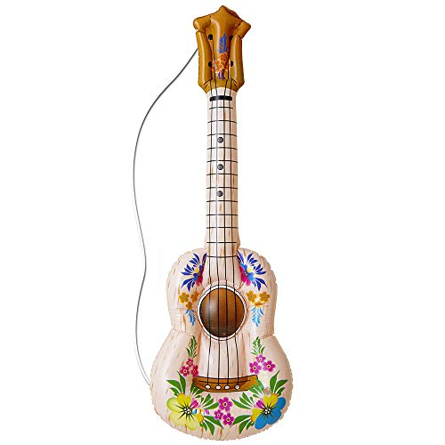 Inflable Hula Guitarra 105cm inflable Accesorio para Tropical Beach & hawaianas de disfraces Disfraces Up & Trajes