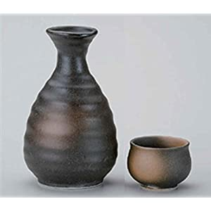 Bizen Black 2.9inch Set of 2 Sake cups porcelain Made in Japan