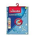Vileda Comfort Plus Telo da Stiro, Copriasse da Stiro Universale, Triplo Strato di Cotone, Mollettone e Spugna Assorbente, Blu, 130 x 40 cm