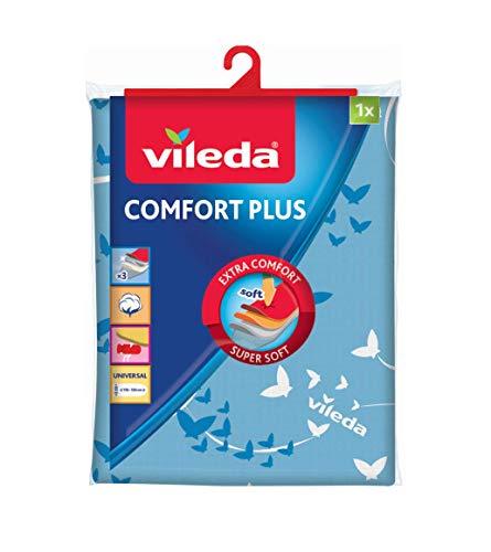 Vileda Comfort Plus - Funda de planchar, tres capas, tamaño universal, textura suave 100% algodón, medidas: 130 x 40 cm, color azul