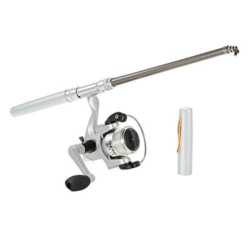 Docooler - Mini caña de pescar de aluminio tipo bolígrafo. Tamaño de bolsillo. Se incluye carrete, bianco