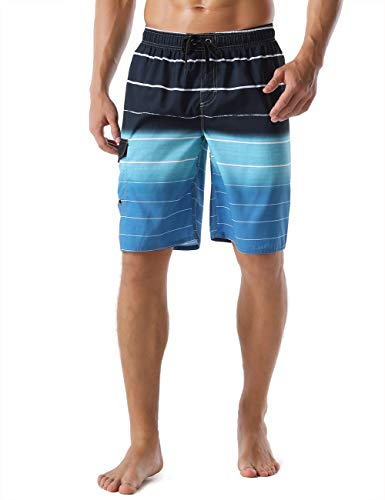 Unitop Men's Bathing Shorts Beach Surfing Trunks Quick Dry Striped with Mesh Lining Blue-34