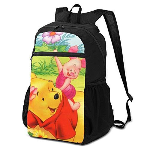 SfeatrutMAT Pooh Bear - Mochila plegable de almacenamiento de dibujos animados para exteriores, mochila de viaje