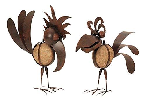 2 er Set Riesen Metall Figuren Vogel mit Stein 32cm bis 35cm rostfarben Garten Dekoration Vögel