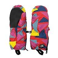 HIGHCAMP Kids Superstar Winter Mittens Waterproof Toddlers Easy On Zip Gloves (Trigon, M 5-7Y)