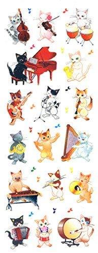 ラメ入りシールシール 猫の音楽隊 BZR346【ご注文1回につき1個 サン・クロレラ サンプルプレゼント!】