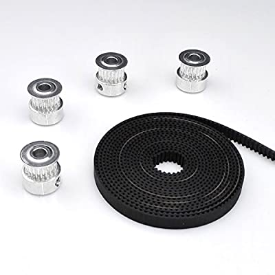 4x Aluminum 2GT 20T 20teeth Timing Pulleys (5mm bore) and 5 meters 6mm GT2 Rubber Open Timing Belt for 3D Printer CNC Reprap