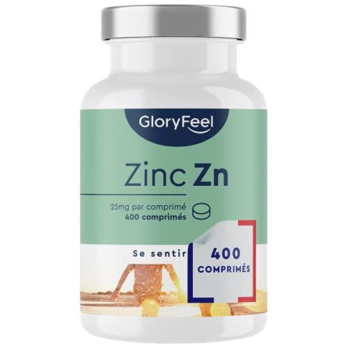 Zinc 25mg - 400 Comprimés Végétaliens (13 Mois) - Qualité Supérieure 25mg de Zinc Élémentaire (Gluconate de Zinc Pur) - Zinc Complément Alimentaire pour Traitement Acné, Soutien le Systéme Immunitaire