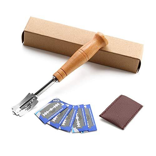 Inicio European Bread Holzgriff Gebogenes Brotmesser Brotschneider im westlichen Stil Gebäck Bagel Home Kitchen Dough Scoring Tool