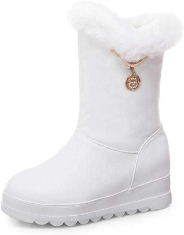 T -JULY Woherrar Snow stövlar Thick Fur Crystal Crystal Crystal Mid Calf stövlar Round Toe Winter Warm skor Mode Mid Calf stövlar  varumärke på försäljningsbevis