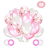 Ballon Confettis Rose,60 Pièces Ballon Anniversaire Baudruche Chiffre Rose, Ballons Confettis Blanc et Rose ,pour Fournitures De Fête Mariage Anniversaire Baptême Baby Shower Communion (60Pcs)