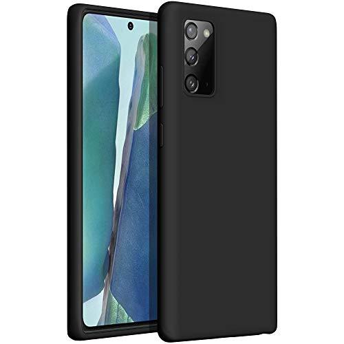 YATWIN Compatible avec Coque Samsung Galaxy Note 20 6,7'', Samsung Galaxy Note 20 Couqe Silicone Liquide, Toucher Confortable, Doublé de Microfibre, Structure à 3 Couches, Noir