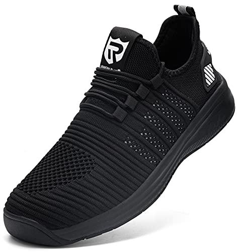 LARNMERN Scarpe da Ginnastica Uomo Antiscivolo Sportive Sneakers Running Basse Basket Sport Outdoor Fitness Respirabile Mesh(Nero 43)