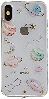 Soft TPU Transparent Galaxy Case for iPhone X XS Super Slim Clear Crystal Shockproof Shock Proof Smooth Sleek Fit Fun Unique Cute Chic Stars Starry Sky Stylish Bling Cool Girls Teens Kids