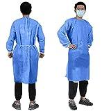 YIBER Monouso Laboratorio Cappotto Isolamento Abito SMS Materiale 38g Con Maglia Polsino Manica Lunga 5 pz/Pack Blu