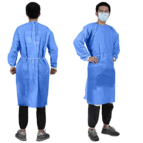 YIBER Disposable Lab Coat Isolation Gown, Multi-Layer SMS Material, AAMI 2, Protective Coverall Hazmat Suit, Fluid Resistant, Dental, Medical, Hospital, Industries ONE SIZE FITS ALL - 5 pcs/Pack Blue