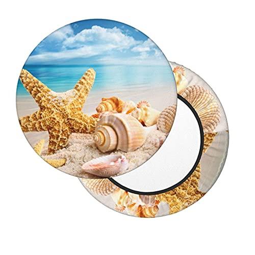 Ronde Tabouret de Bar Coussins,30cm Couvre Extensible Couverture de Tabouret de Barre Ronde Epaisse Stretch-Able pour Chaises Hautes de Bar (Étoile de mer et Coquillages sur la Plage)