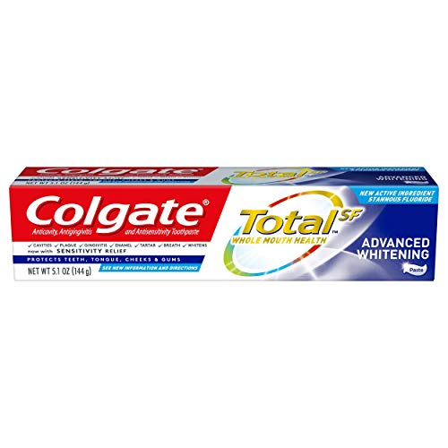 Colgate Total Advanced Whitening Toothpaste with Fluoride, Multi Benefit Toothpaste with Sensitivity Relief and Cavity Protection - 5.1 ounce