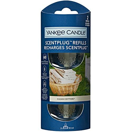 Yankee Candle ricariche fragranza ScentPlug | Olio per profumatore d'ambiente elettrico Clean Cotton | Durata della fragranza: fino a 60 giorni | 2 pezzi