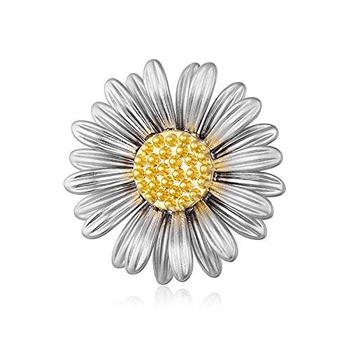 ROTOOY Moda Sweet Daisy Trendy Broche Flor Pin para Mujer Crisantemo Pin Broche Abrigo Accesorios de joyería Regalo-Antique_Silver_Color
