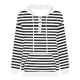 Suéter de rayas para mujer, sudadera con capucha casual con...