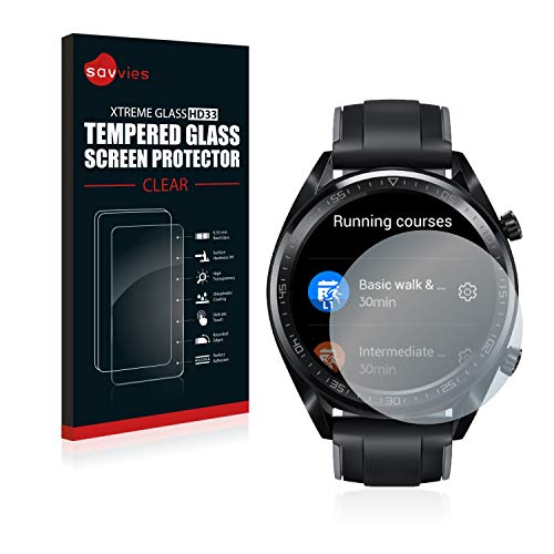 Savvies Panzerglas kompatibel mit Huawei Watch GT/GT Active - Echt-Glas, 9H Härte, Anti-Fingerprint