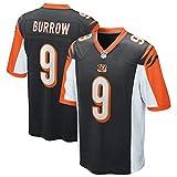 LXIN NFL Maillots Tigres Rugby vêtements Bengals # 9 Joe Burrow Jersey t-Shirt Demi-Manche Sport Jeu Cadeau,C,L