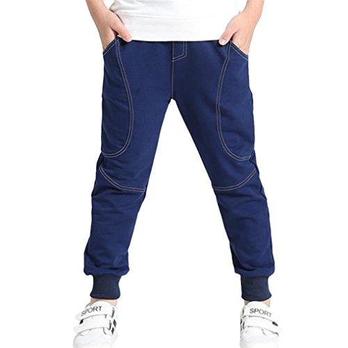 Ugitopi Pantalones de Jogging de Algodón para Niños Talla 4-12 años (Dark Blue,150)