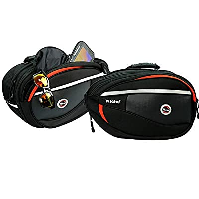 Niche 2pcs Deluxe Motorcycle Saddle Bag, Side Bag, Pannier for Street Bike and Sports Bike, Expandable and Waterproof Travel Bag NMO-8209 from Niche Summit Co., Ltd