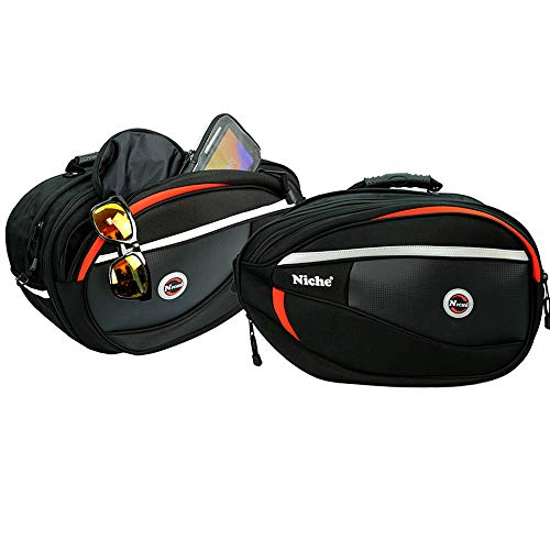 Niche 2pcs Deluxe Motorcycle Saddle Bag, Side Bag, Pannier for Street Bike and Sports Bike, Expandable and Waterproof Travel Bag NMO-8209