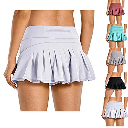 HUILAIBA Women s High-Waisted 2-Layer 3-Point Sports Shorts with Pockets, Pleated Culottes, with Back Waist Pocket Zipper Comfortable And Breathable, Suitable for Yoga, Tennis, Badminton 5XL Bianco